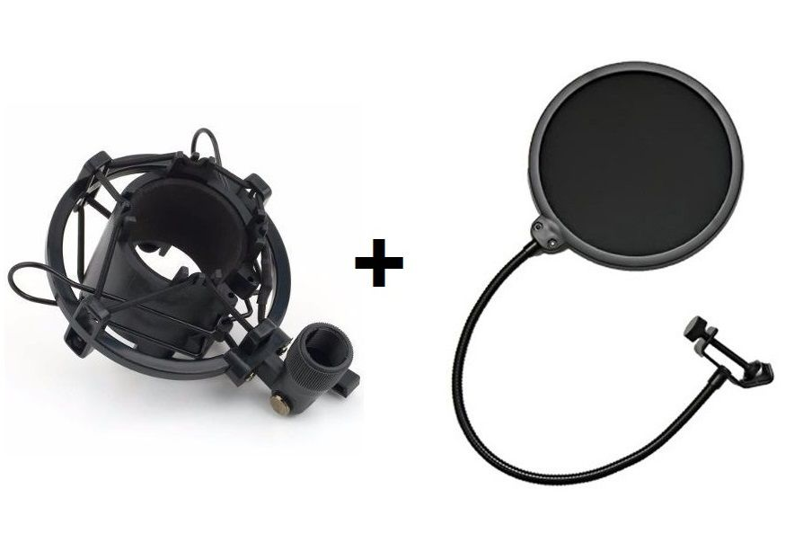 Kit Aranha Shock Mount Para Microfone + Tela Pop Filter