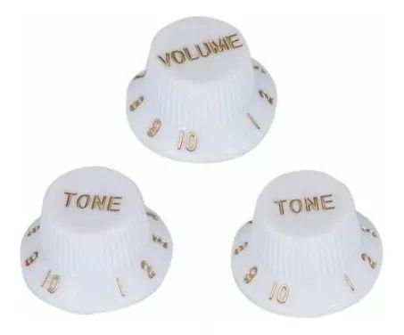 Kit com 1 Knob Volume Branco + 2 Knobs Tone Branco para Guitarra Stratocaster