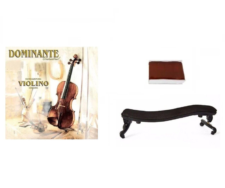 Kit Cordas Violino Dominante + Breu Smbr + Espaleira 3/4 4/4