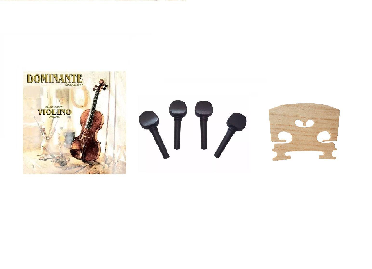 Kit Cordas Violino Dominante + Cavalete + 4 Cravelhas 4/4