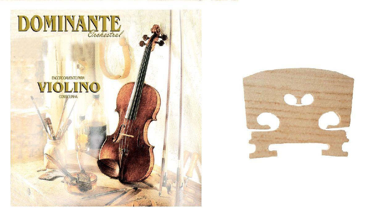 Kit Cordas Violino Dominante Orchestral + Cavalete 4/4