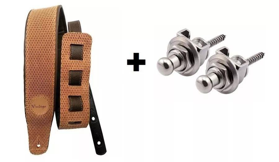 Kit Correia Basso Vt Sl 90 Estofada Marrom + Strap Lock