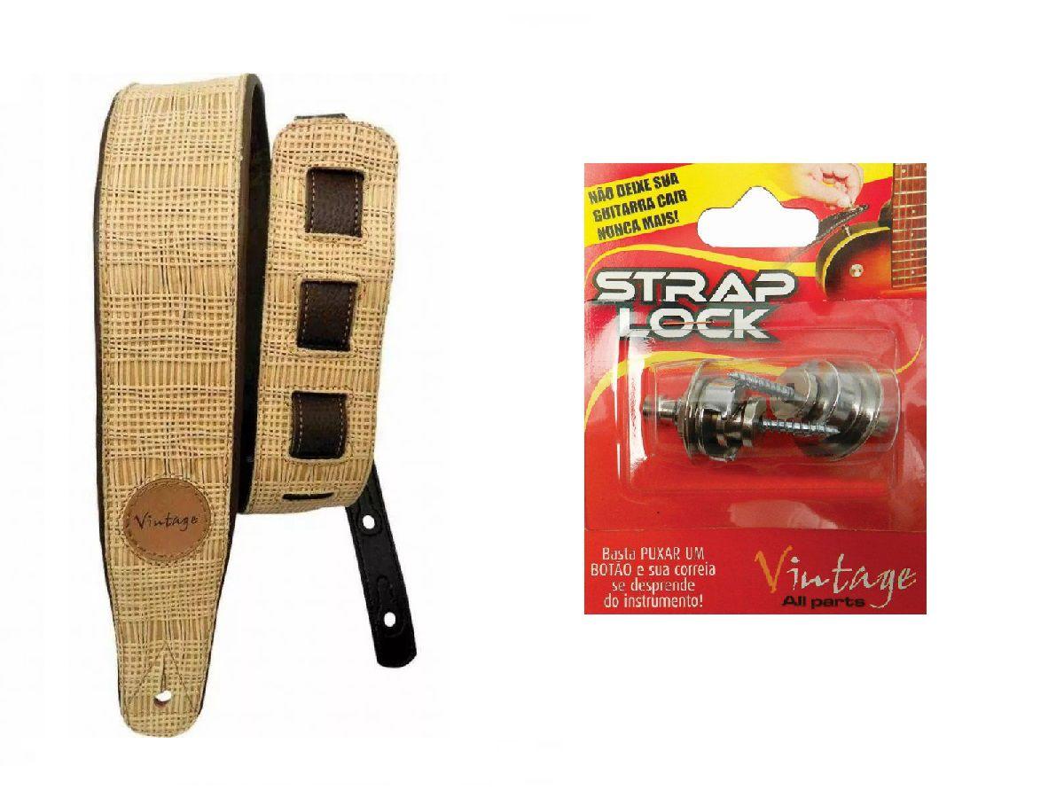 Kit Correia Vintage Vtsl 91 Palha + Strap Lock Sl-01 Basso