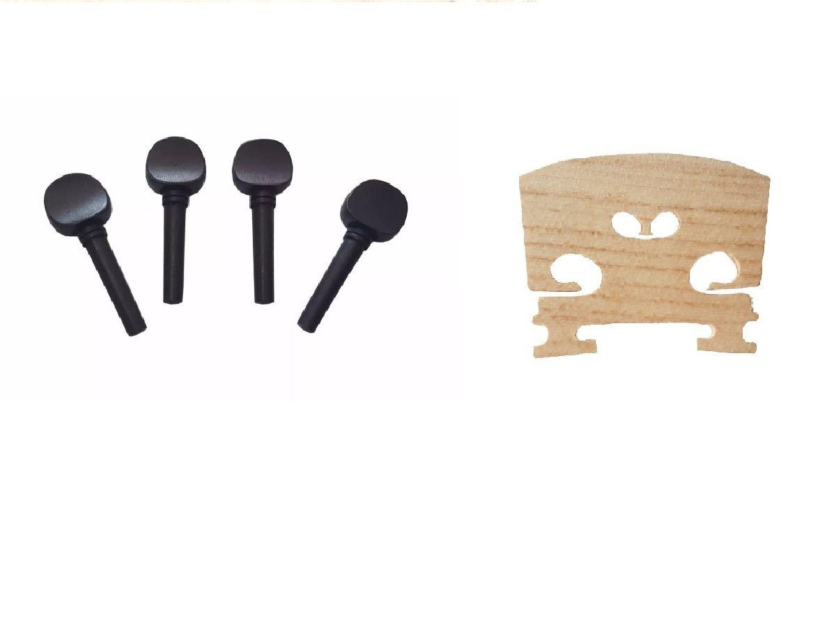Kit Jogo 4 Cravelhas Para Violino 4/4 + Cavalete Maple