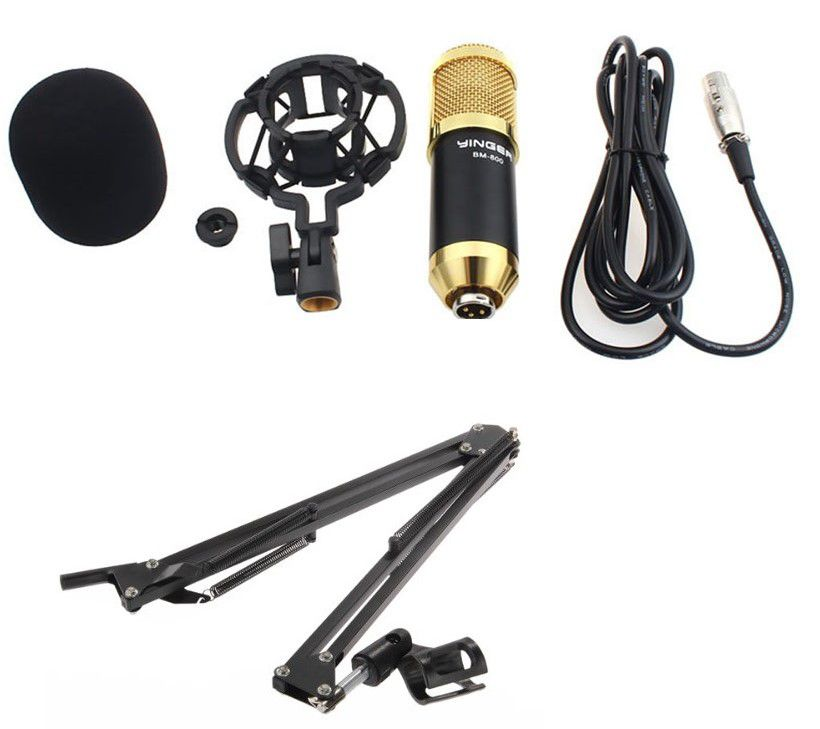 Kit Microfone Condensador Bm800 + Pedestal Articulado