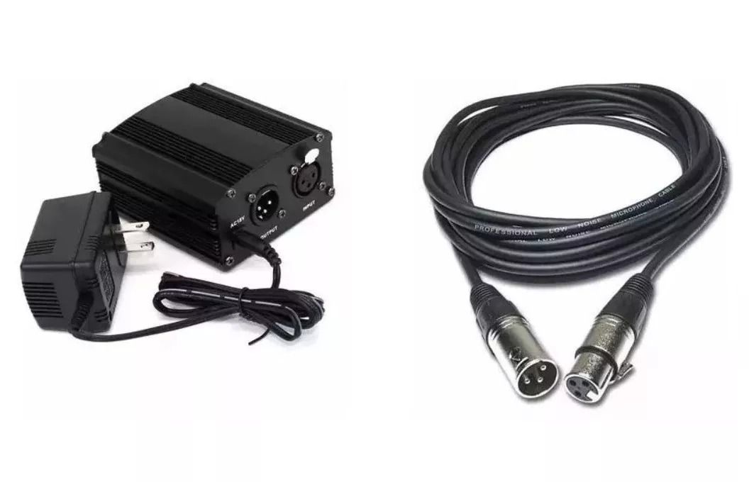 Kit Phantom Power Para Microfone + Cabo Xlr 5 Metros