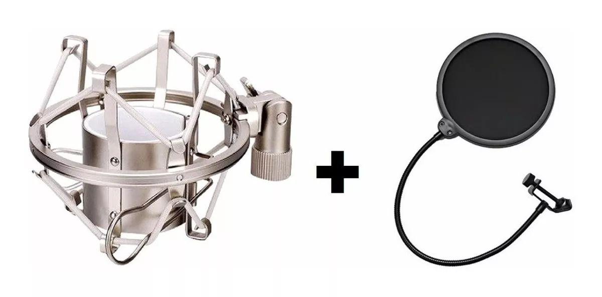 Kit Shock Mount Aranha Microfone Cromado + Tela Pop Filter