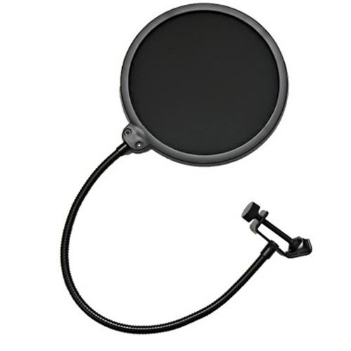 Pop Filter para Microfone Tela Anti Sopro com Haste Flexível