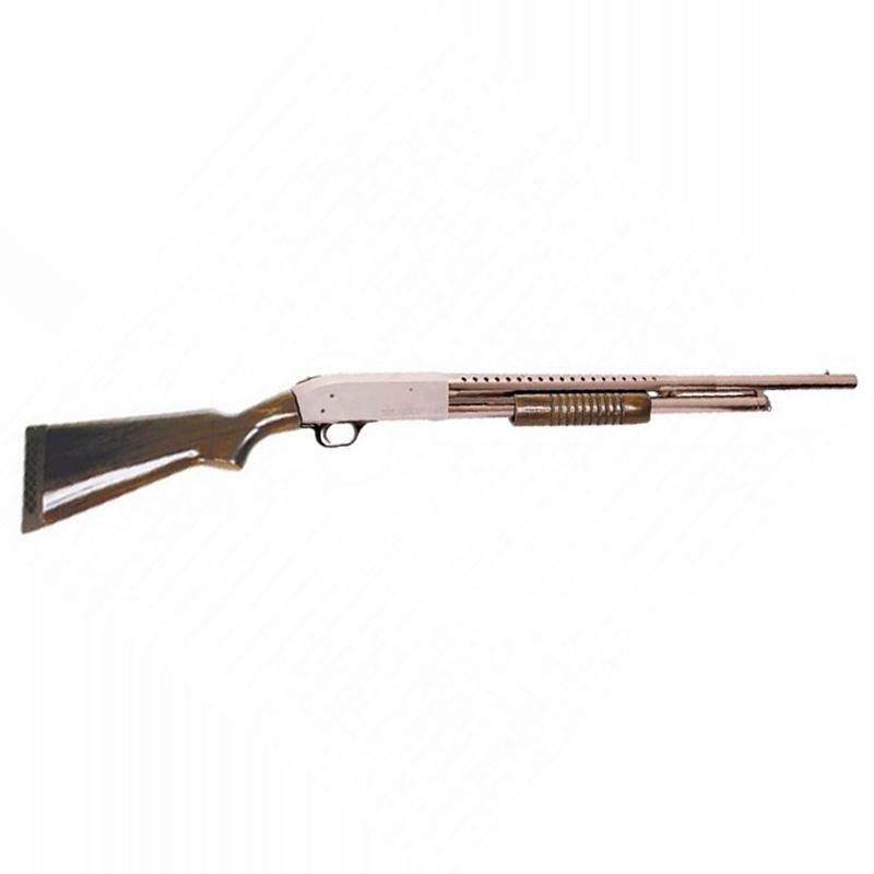Espingarda BSA  84 PUMP cal 12 com coronha de madeira - Toda Niquelada