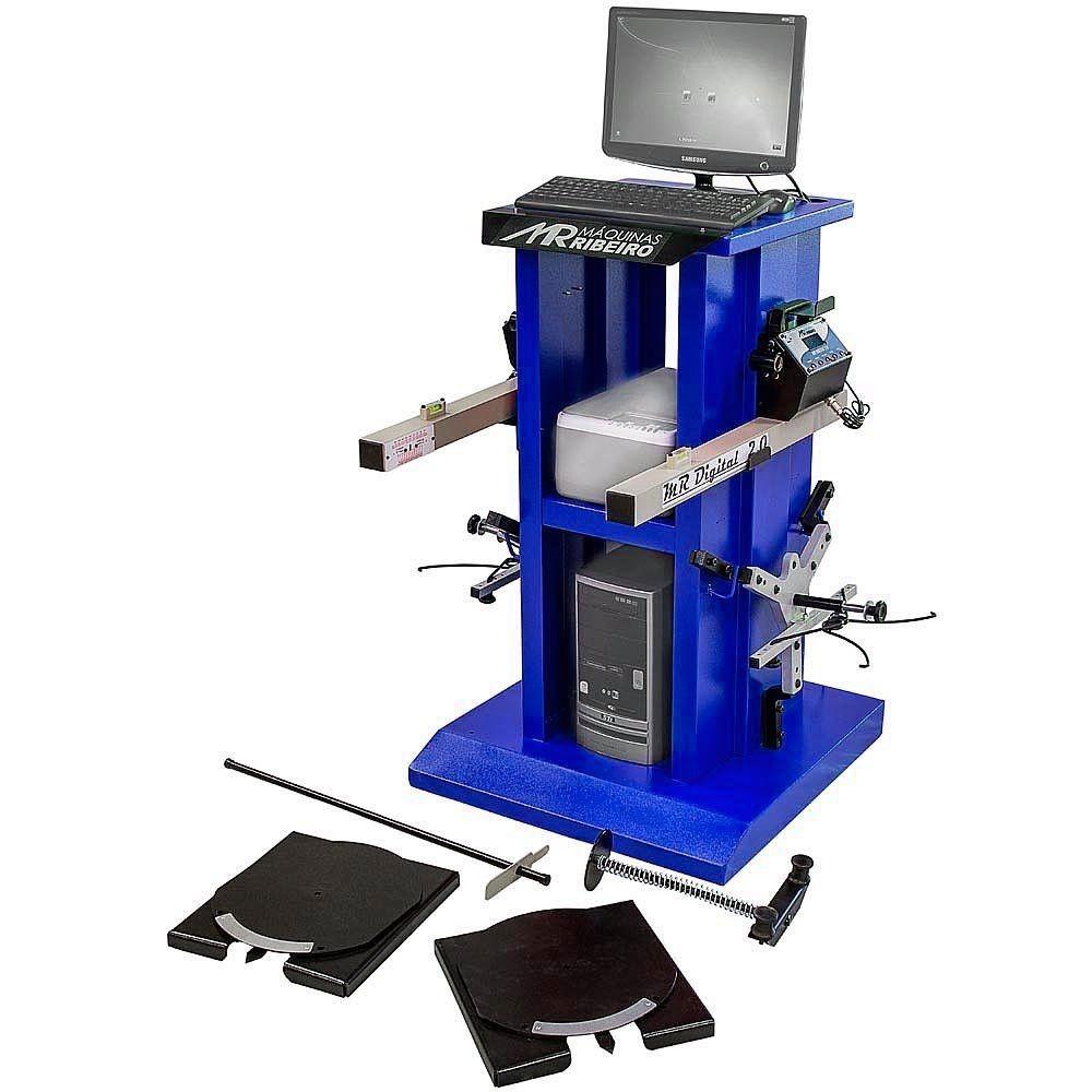 Alinhador de Direção Digital Dianteiro 2 Cabeças com Rack Azul - RIBEIRO MRDIGITAL 2.0