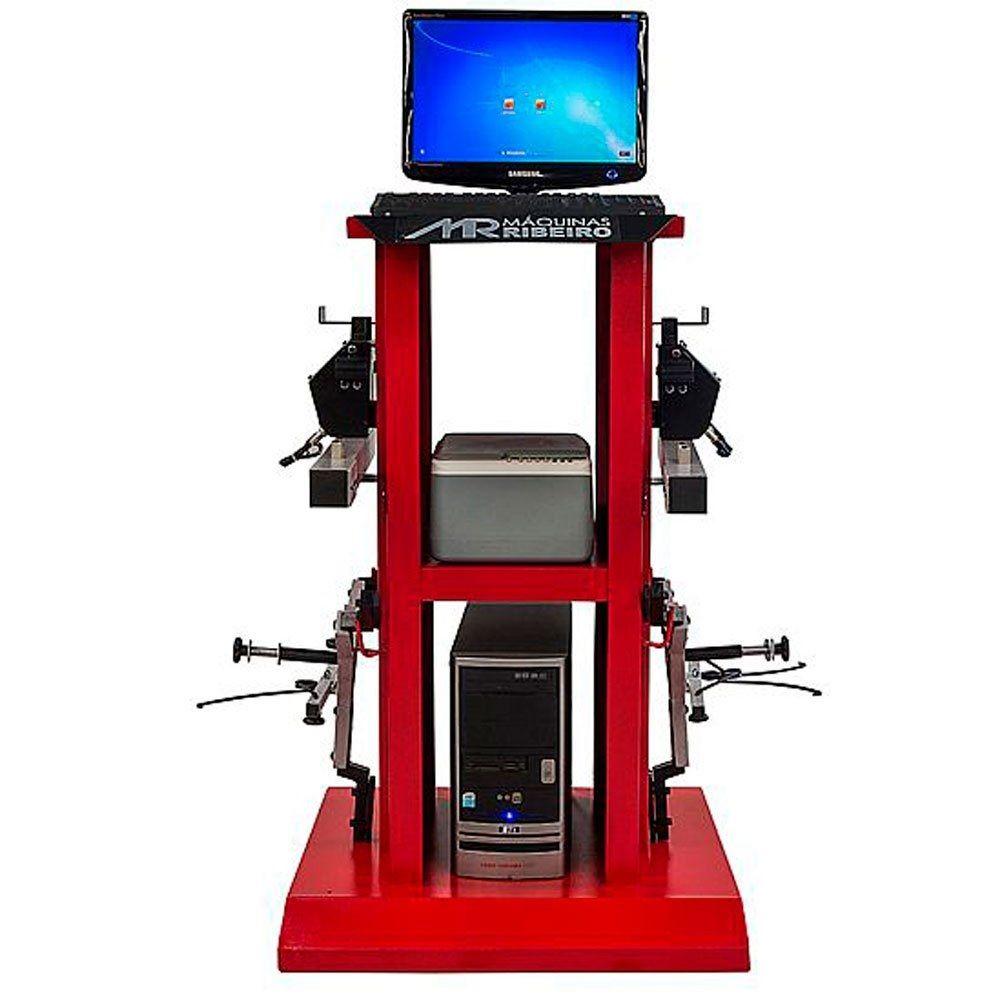 Alinhador de Direção Digital Dianteiro 2 Cabeças com Rack Vermelho - RIBEIRO MRDIGITAL 2.0