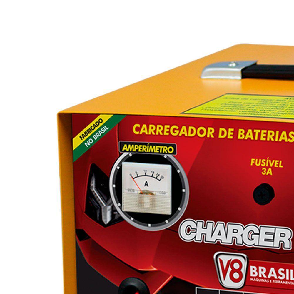 Carregador de Baterias 10A 12V Bivolt - V8 BRASIL Charger 100