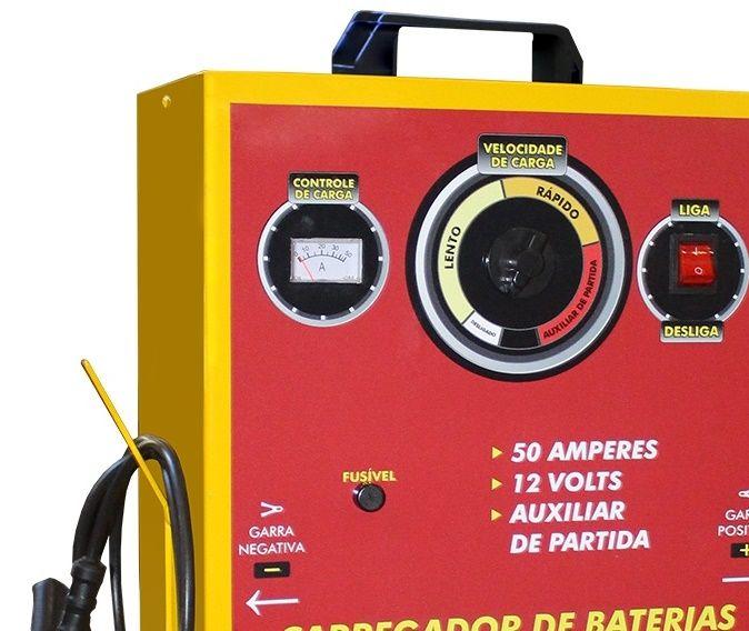 Carregador de Baterias com Auxiliar de Partida 50A - V8 BRASIL Charger 500