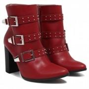 Bota Feminina Via Marte 18-6602 Ankle Boot Fivela Metal