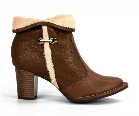 Bota Feminina Campesí Ugg Ankle Boot L5792 Conforto couro caramelo-doce de leite