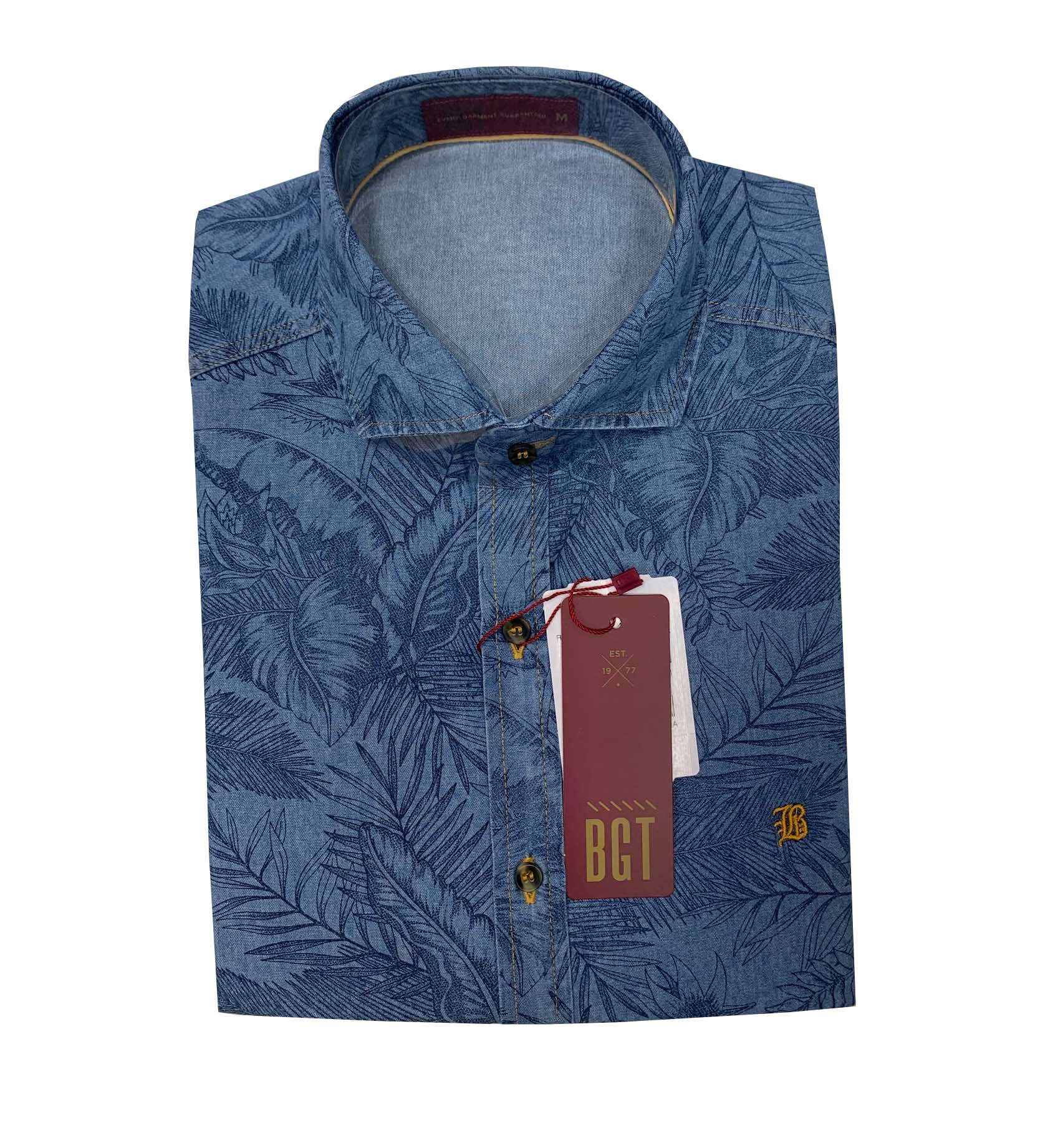 Camisa Baumgarten Manga Curta Jeans 4768 Masculina