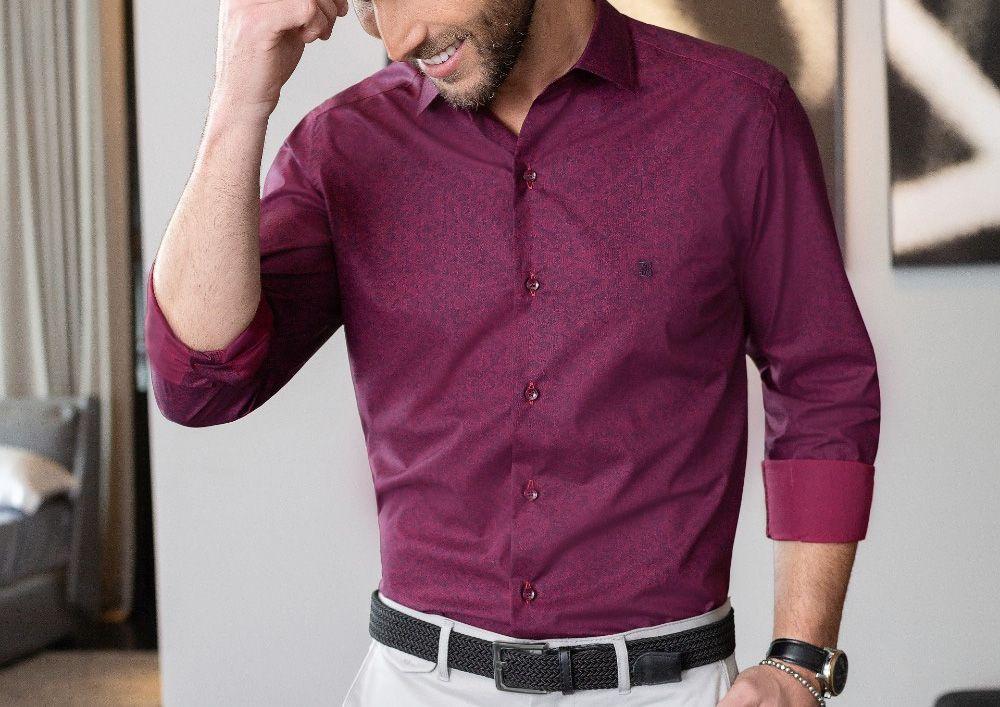 Camisa Baumgarten Social Manga Longa Slim Elegance 2394 Masculina