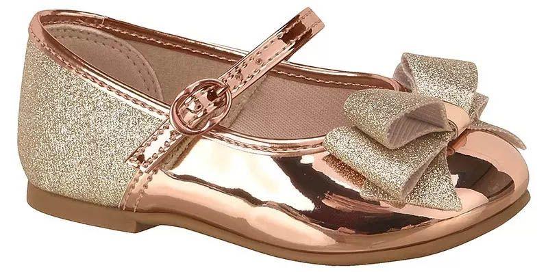 Sapato Infantil Molekinha Bebê 2106.176 Glamour Gliter 12106 Ouro Rosado