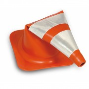 Cone Flexível Refletivo Laranja/Branco - 75cm