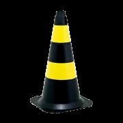 Cone Rígido Preto/Amarelo - 50cm