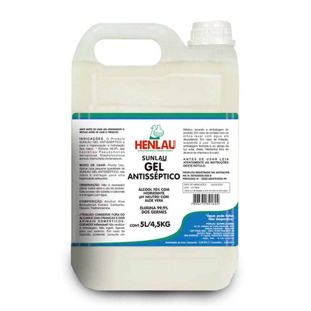 Álcool Em Gel 70% Antisséptico de 5 Litros - Henlau Sunlau