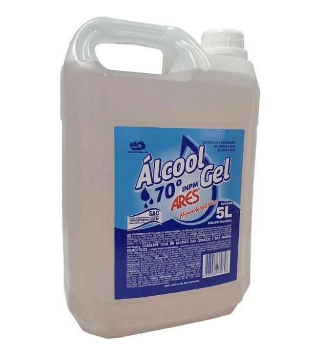 Álcool Em Gel 70% Antisséptico Hipoalergênico Galão de 5 Litros - Ares
