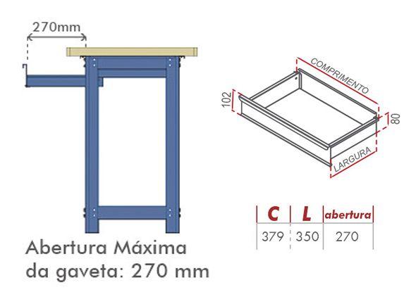 Bancada p/ Oficina 200 x 60cm c/ 02 Gavetas e Tampo Inferior - Nocram