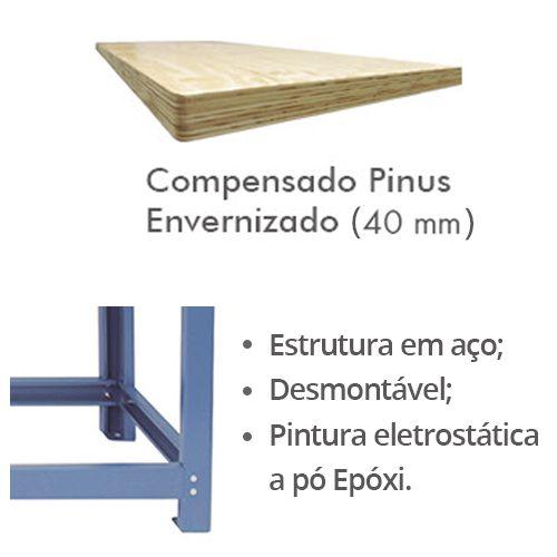 Bancada p/ Oficina 200 x 60cm c/ 02 Gavetas - Nocram