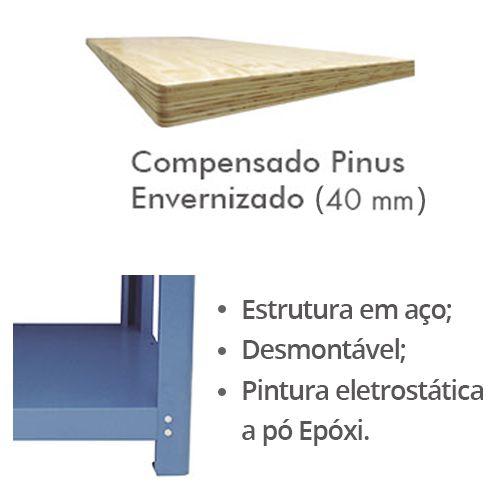 Bancada p/ Oficina 200 x 60cm c/ Tampo Inferior - Nocram
