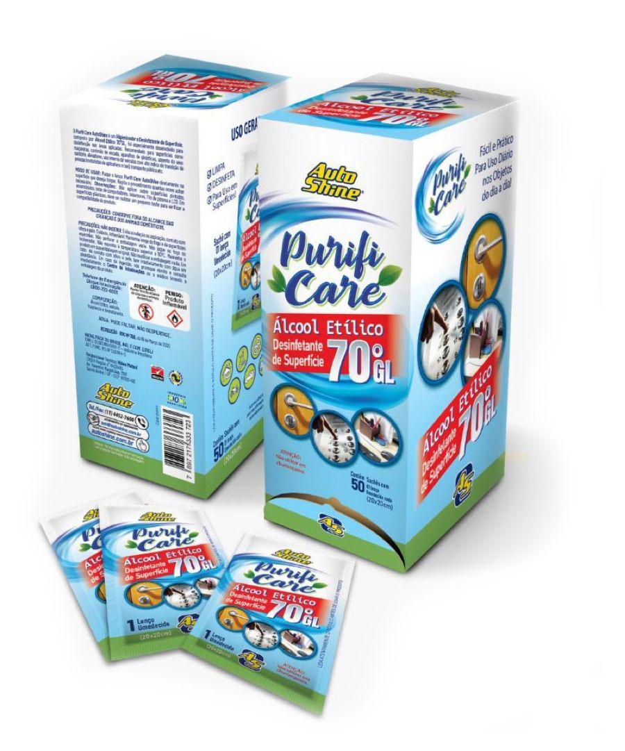 Caixa de Lenços com Álcool 70 Desinfectante de Superfícies - 50 un.