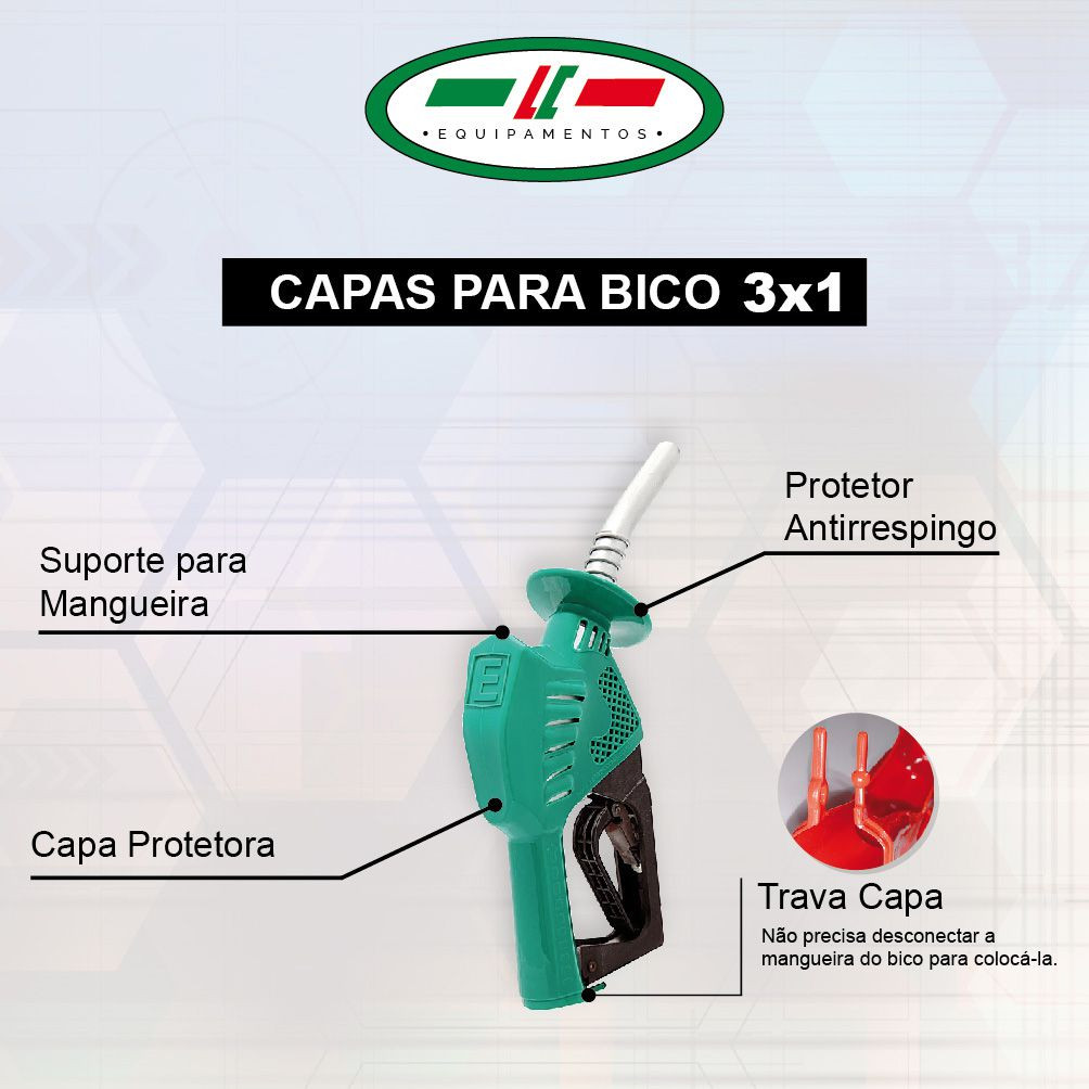 Capa para Bico 3x1 - Capa Protetora | Suporte de Mangueira | Protetor de Respingo - Cinza Diesel