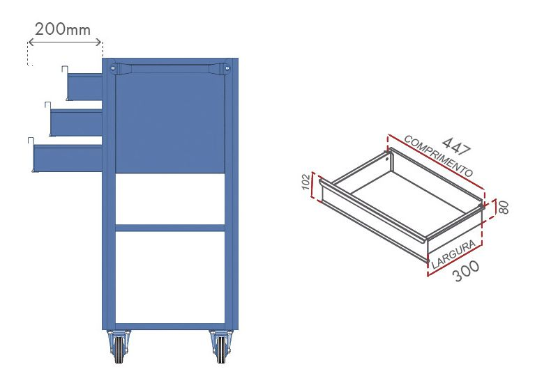 Carrinho Porta-Ferramentas p/ Oficinas 03 Gavetas Mod.1 - Nocram