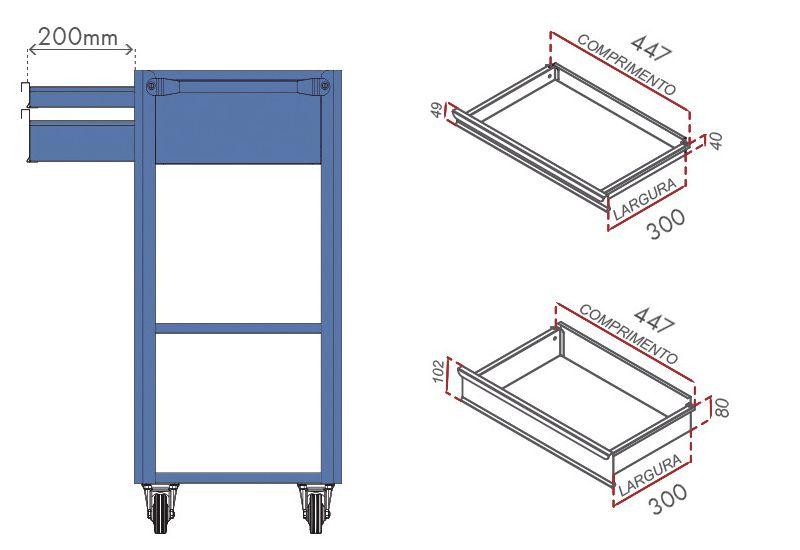 Carrinho Porta-Ferramentas p/ Oficinas 02 Gavetas Mod.2 - Nocram