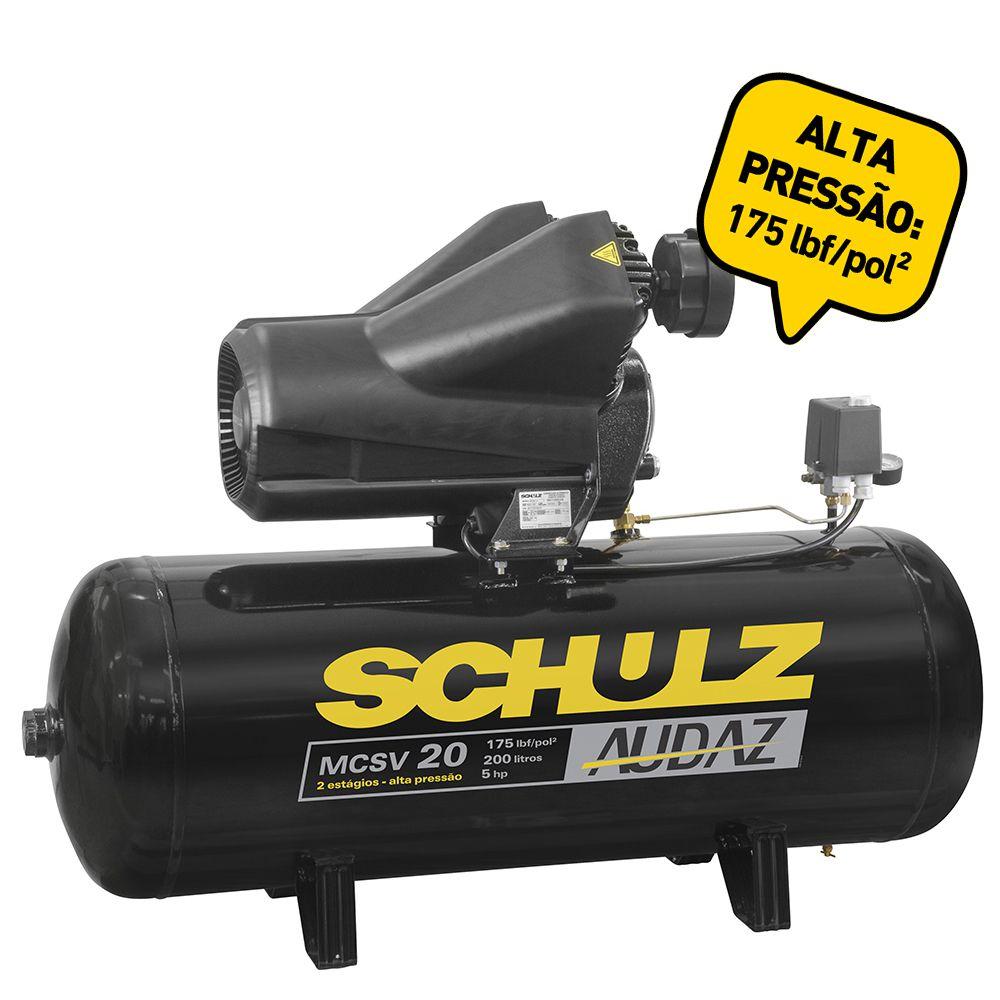Compressor de Ar AUDAZ de Pistão 20 Pés 200 Litros - Schulz