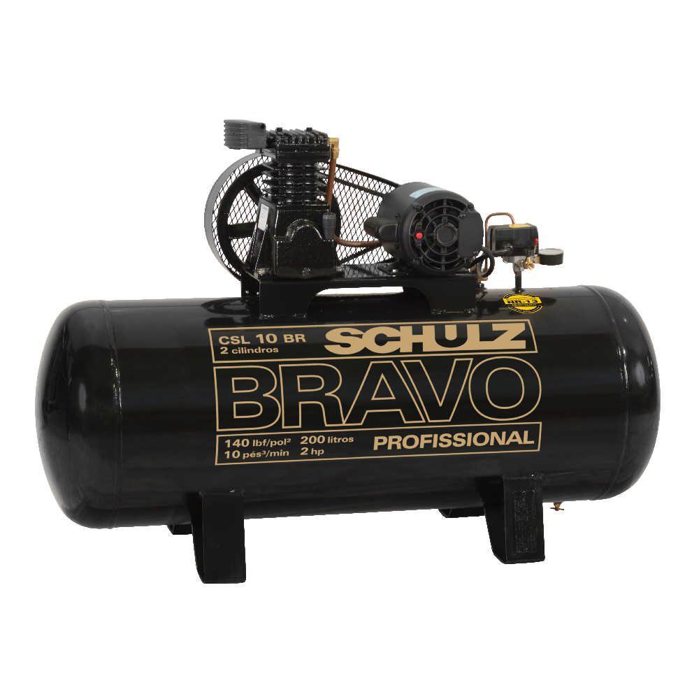 Compressor de Ar Bravo CSL 10BR/200 2hp 220V Trifásico - Schulz