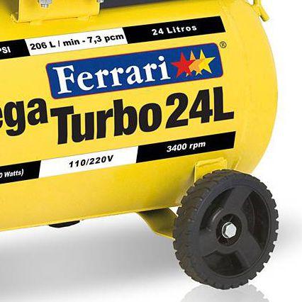 Compressor de Ar Móvel Mega Turbo | 24 Litros | Bivolt | 2 hp - Ferrari