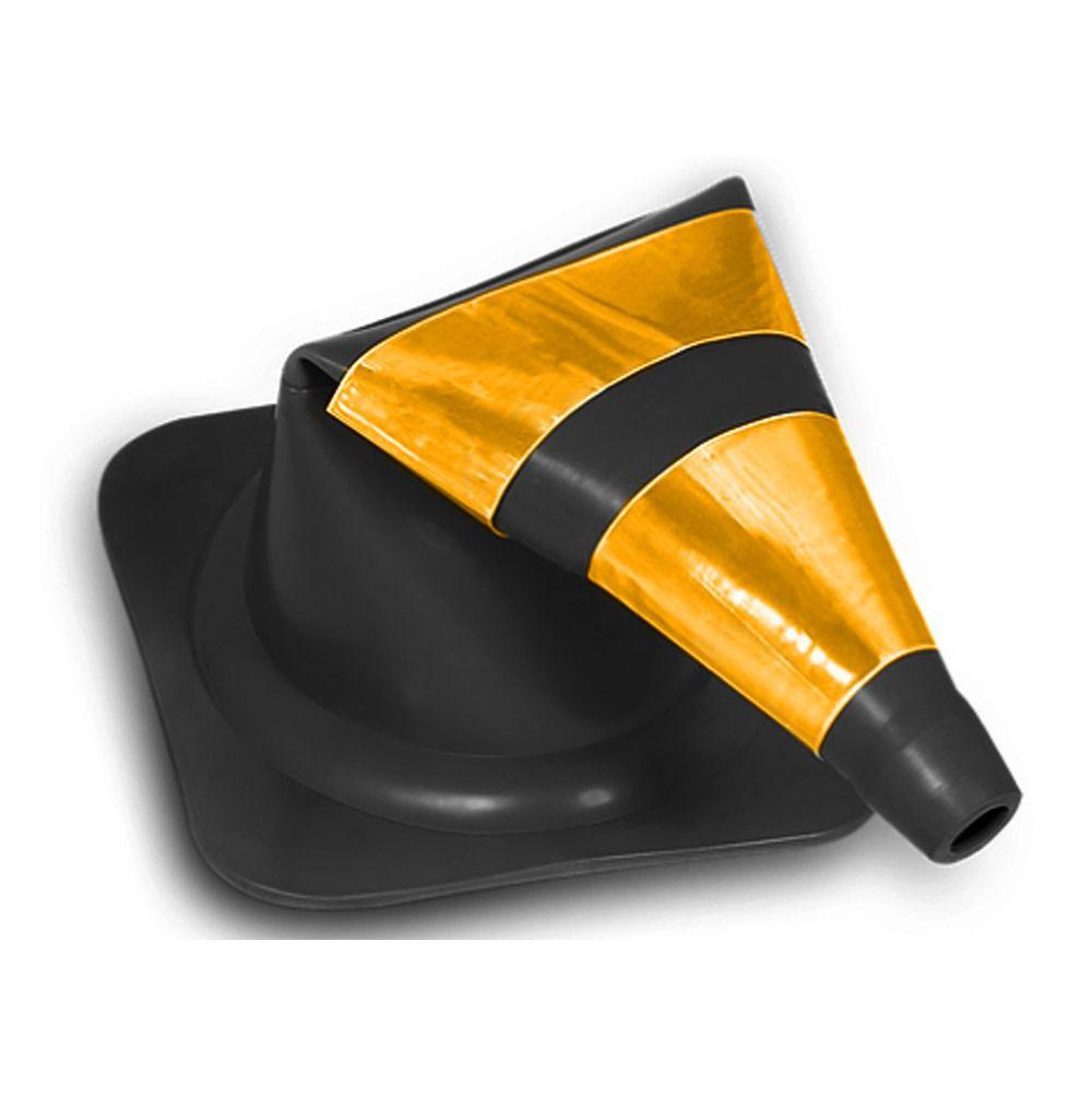 Cone Flexível Refletivo Preto/Amarelo - 75cm