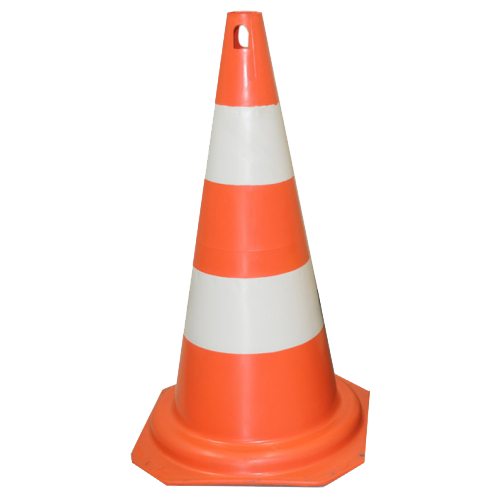 Cone Rígido Laranja/Branco - 50cm