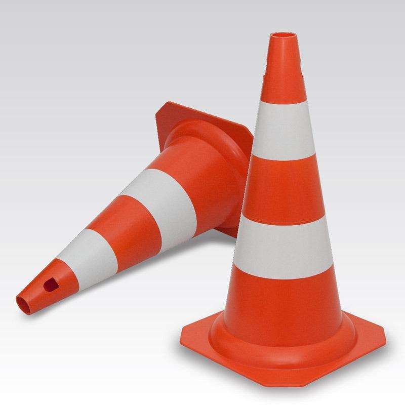 Cone Rígido Laranja/Branco - 75cm