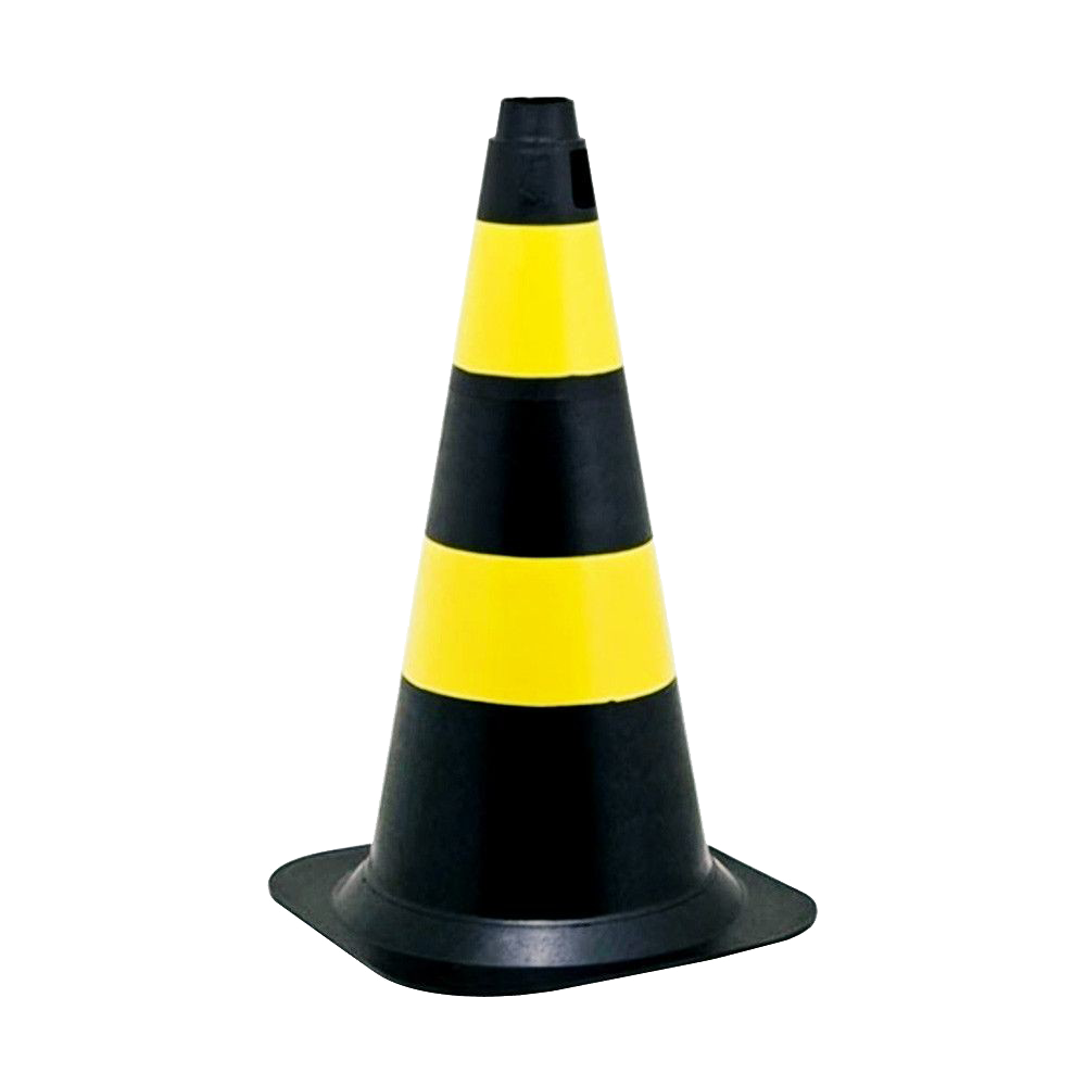 Cone Rígido Preto/Amarelo - 75cm
