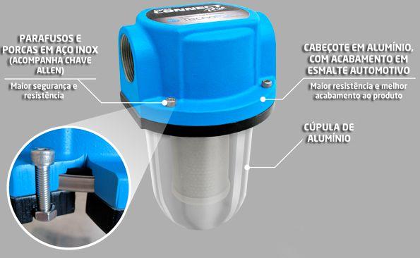Filtro de Linha p/ Diesel | Cúpula de Alumínio - Elemento Bronze| Connect Pro -Tecnopuro