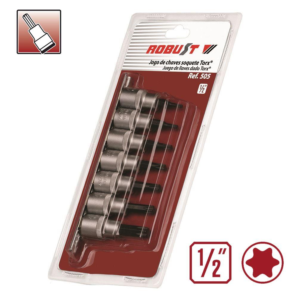 Jogo de Chaves Soquete TORX Longos (GTX) c/ 7 peças T20 a T55 - Robust