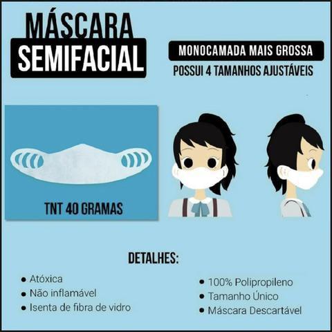 Máscara Descartável c/ Ajuste de Tamanho Sem Elástico Azul - 10 un