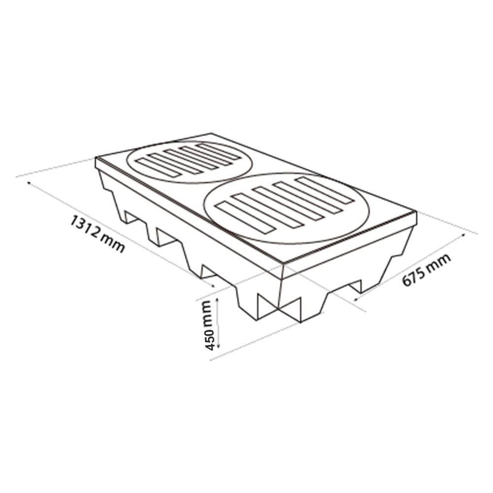 Palete de Contenção Alto p/ 02 Tambores - 250 Litros