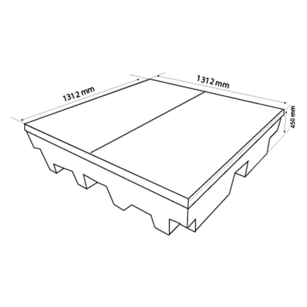 Palete de Contenção Alto p/ 04 Tambores - 500 Litros