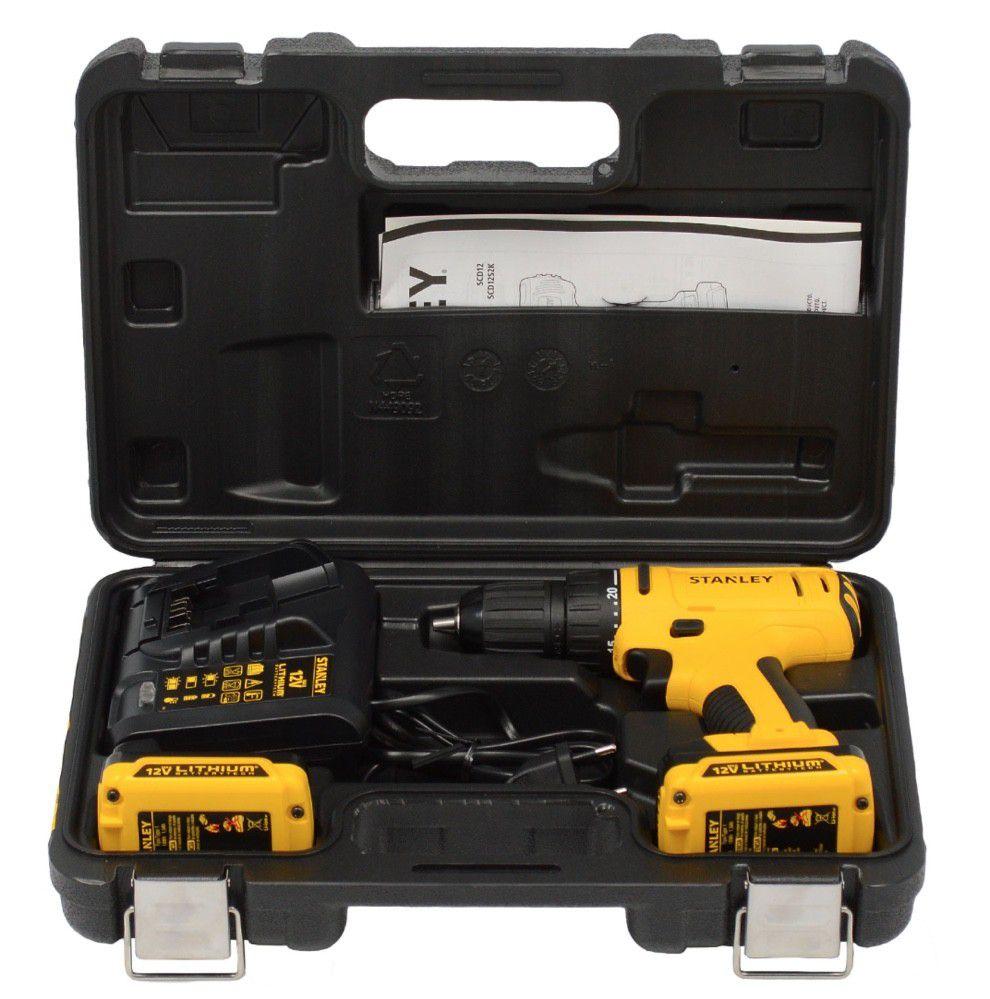 Parafusadeira/Furadeira c/ Maleta | 3/8'' (10mm) | 2 Baterias 12V Bivolt | 30Nm - Stanley