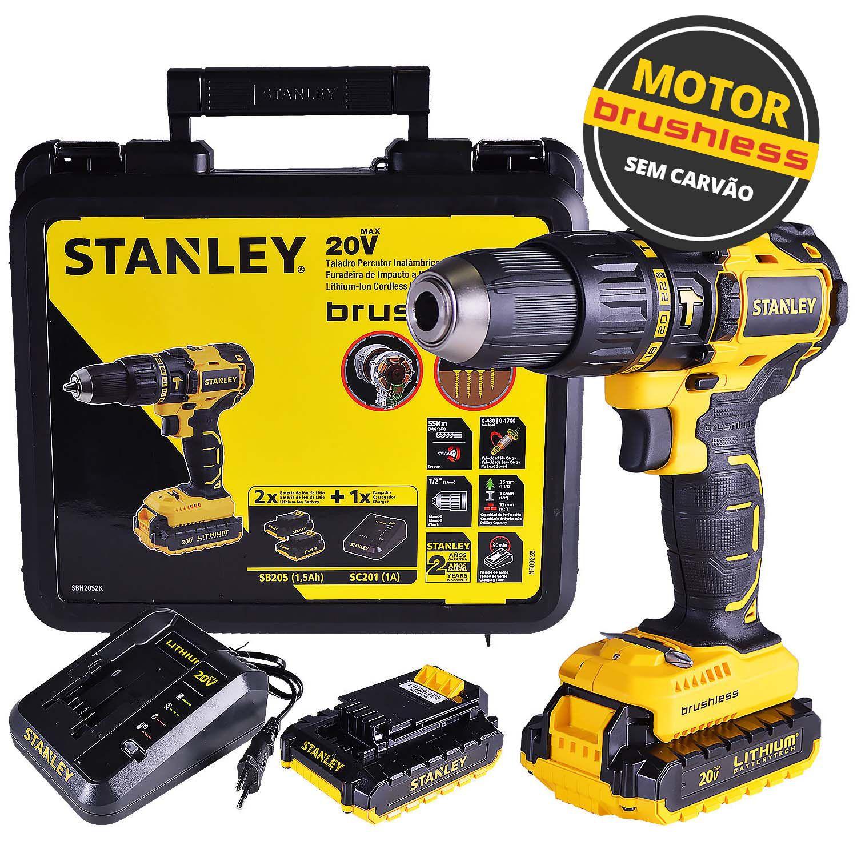 Parafusadeira/Furadeira de Impacto BRUSHLESS c/ Maleta | 1/2'' (13mm) | 2 Baterias 20V Bivolt | 55Nm - Stanley