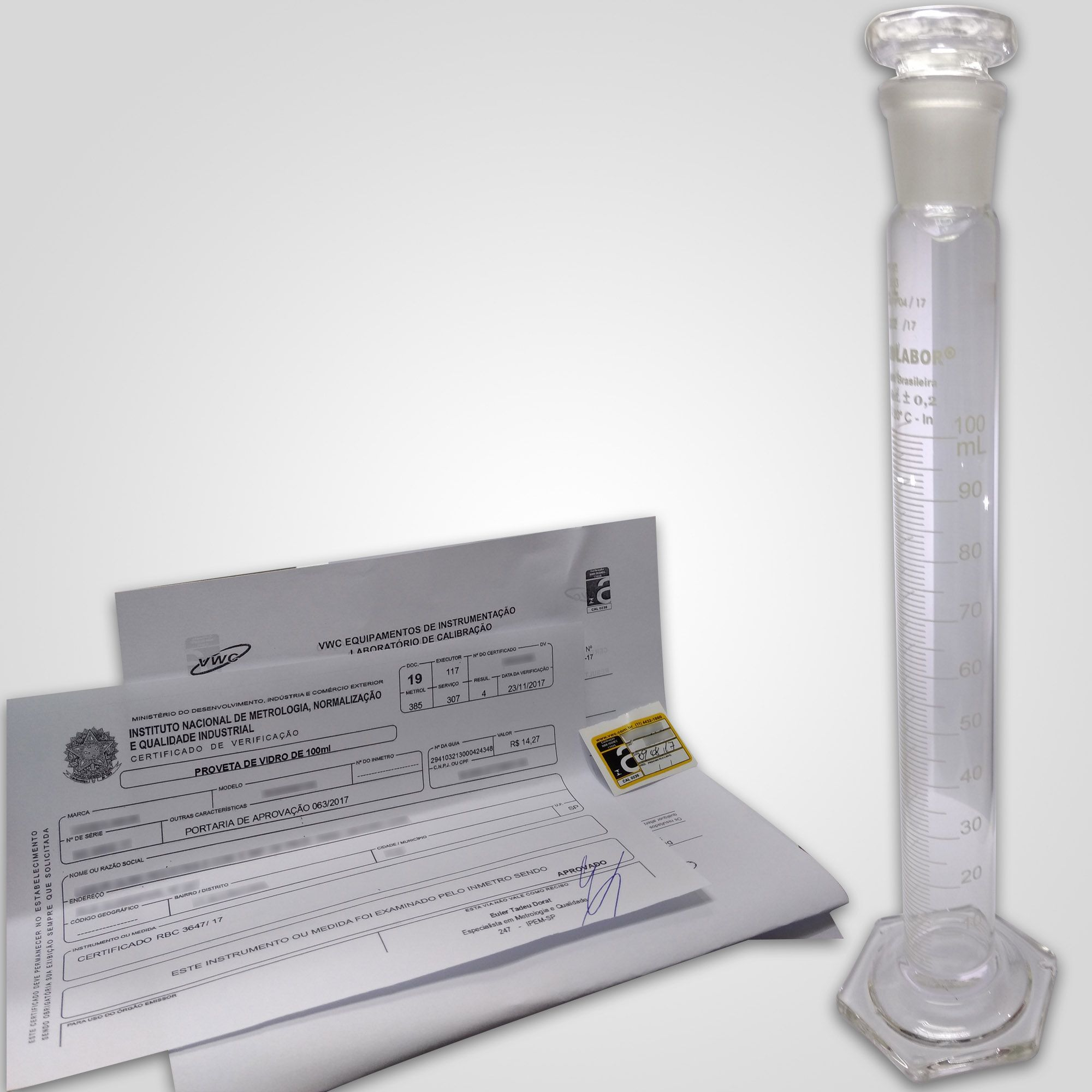 Proveta de 100 mL - Certificada pelo INMETRO (Portaria 528)