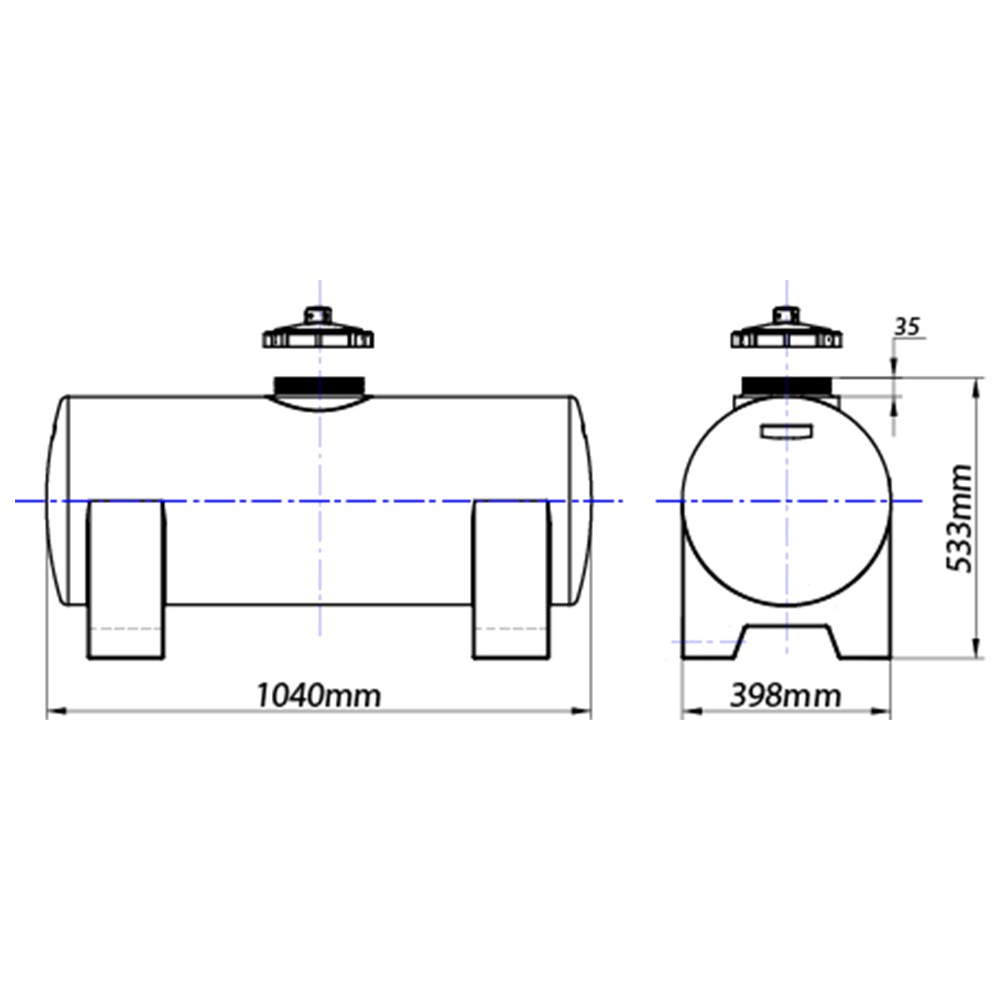 Tanque Aéreo Horizontal 125 Litros - Polietileno (PE)