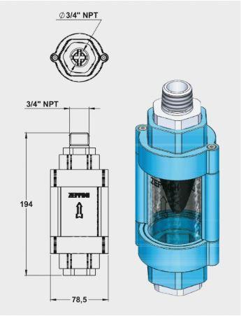 "Visor de Passagem de Combustível c/ Filtro | 3/4"" NPT | Cinza - Zeppini"